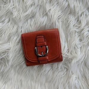 Coach red leather wallet with buckle